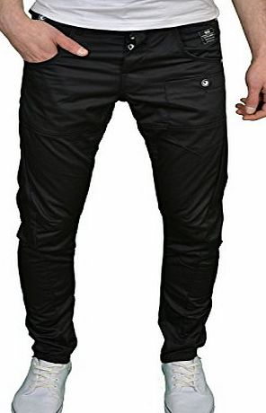 Crosshatch Mens Designer Twisted Leg Regular Fit Tapered Chinos Jeans (38W x 32L, Black)