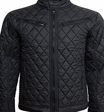 Crosshatch Mens Quilts Diamond Jacket - Black - X Large