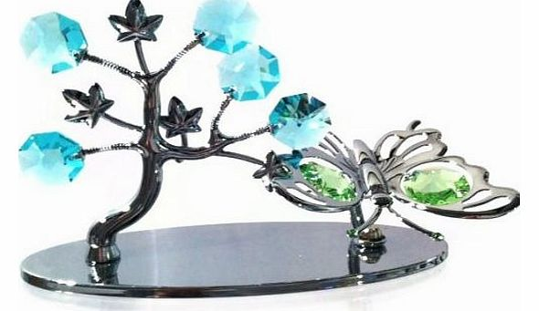 CRYSTOCRAFT MINI BUTTERFLY AND TREE ORNAMENT WITH SWAROVSKI CRYSTALS