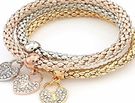 Crystal Qian 3 Pack Women Fashion Crystal Rhinestone Heart Elastic Bracelets