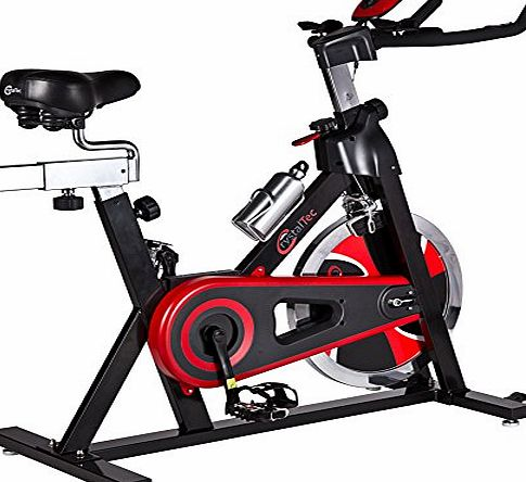 CrystalTec Premium Indoor Aerobic Training Cycle Exercise Bike Fitness Cardio Workout Machine - 22kg Flywheel - With Hand Pulse Sensor and New and Improved Soft Seat