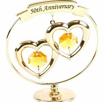 Keepsake Gift Ornament - Freestand Mobile 50th Gold Wedding Anniversary with Swarvoski Crystal Elements
