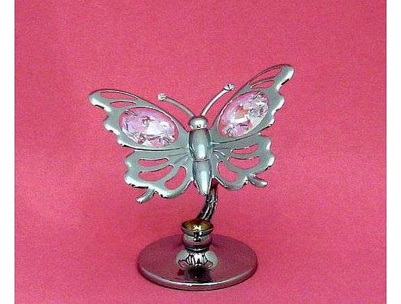 Keepsake Gift Ornament - Silver Butterfly with Swarvoski Crystal Elements