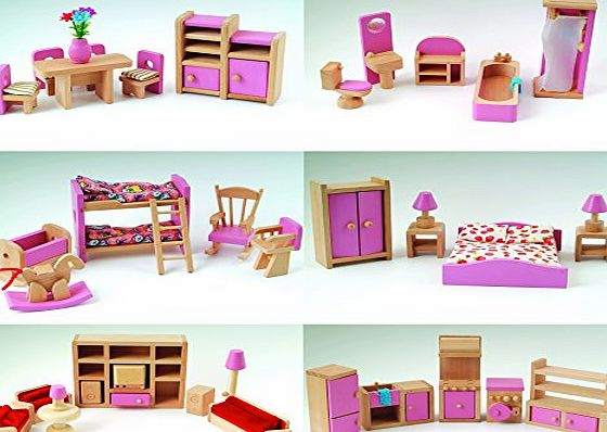 CS Wooden Pink Wooden Dolls House Furniture 6 Room Set   4 Dolls Age 3  CE Miniature Toy