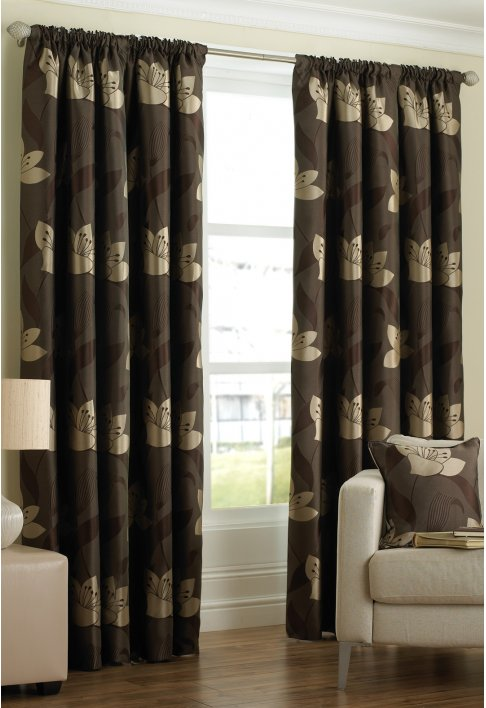 Isabella Chocolate Lined Curtains