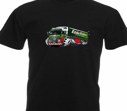CUSTOM-FUNKY KOOLART EDDIE STOBART 3045 KIDS T SHIRT (9-10 YEARS TO FIT 30, BLACK)