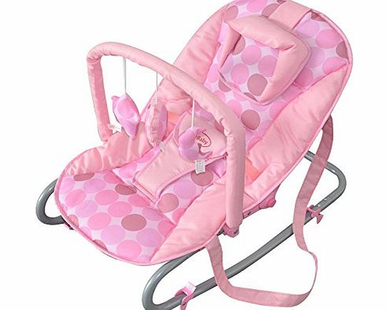 Cute Baby - Pink Rocker Fully Reclining Rocking Cradle Chair - From Newborn