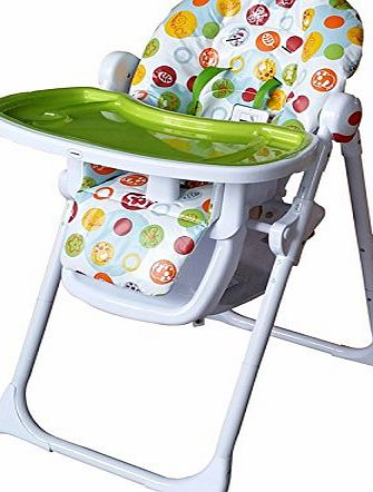 Cute Baby Fruit Paradise - Recline Compact Padded Baby High Low Chair Complete With Double Tray amp; Storage Basket
