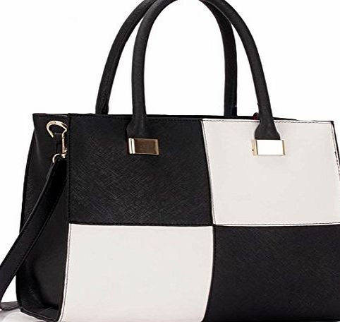 CW Ladies Womens Fashion Designer Large Size Quality Chic Tote Bags Handbags CWS00153L CWS00153M (CWS00153M-BLACK/WHITE)
