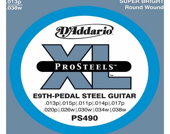 DAddario PS490 XL ProSteels E-9th Tuning (.013-.038) Electric Pedal Steel Guitar Strings
