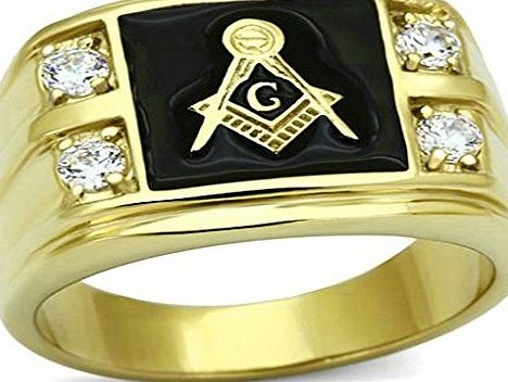 Daesar Gold Plated Rings Mens Wedding Bands Gold Masonic Mark Freemason Ring 4 CZ Rings UK:T 1/2