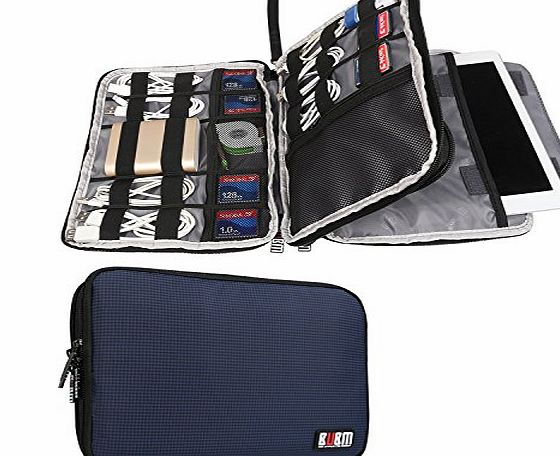 Damai BUBM Double Layer Travel Gear Organiser / Electronics Accessories Bag / Phone Charger Case (Large, Dark Blue)