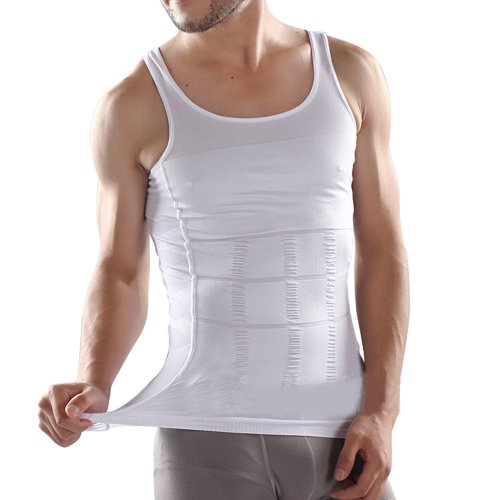 Stretchy Firm Tummy Belly Control Slimming Body Shaper Vest Undershirt Magic Compression Muscle Shirt Figure-Flattering Trimmer Tank Cover Most Size FREE POSTAGE WHITE