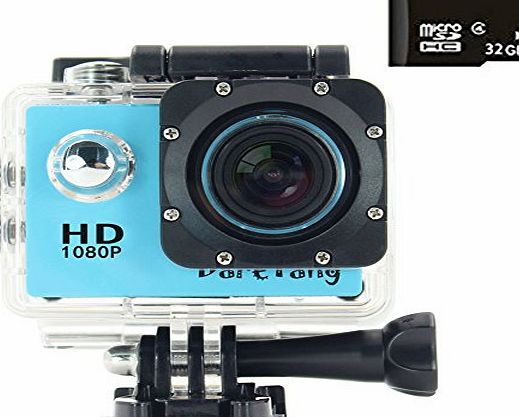 DareTang 1080P Waterproof Action Camera DV 12MP HD DVR Camcorder 170° Wide-Angle Lens   Variety of Stands/Mounts/Casing for Skiing, Snowboarding, Surfing, Hiking, Climbing, Extreme Sports (Red)