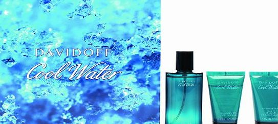 Davidoff Cool Water Man EDT Gift Set - 75ml EDT Spray / 50ml Shower Gel / 50ml Aftershave Balm