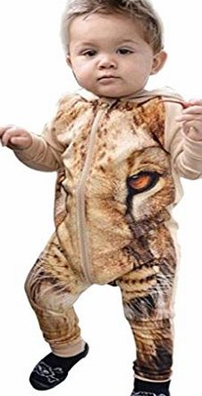 DAYSEVENTH Kid Baby Lovely Lion Print Bodysuit Romper Jumpsuit Zipper Outfits (24M)