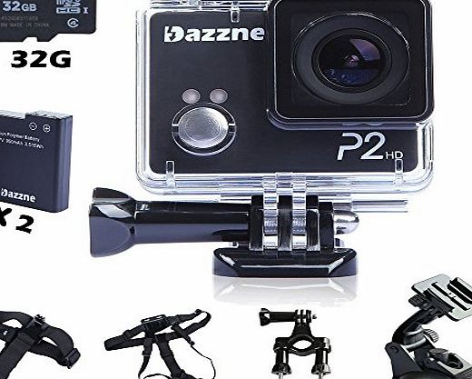 Dazzne P2 1080P HD Sports Action Camera DV Helmet Camcorder   18 in 1 Mouting Accessories Kit   32G SD Card