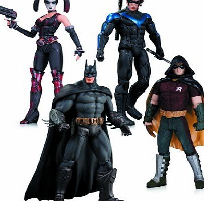DC Comics Arkham City Harley Quinn, Batman, Nightwing, and Robin 4 Pack