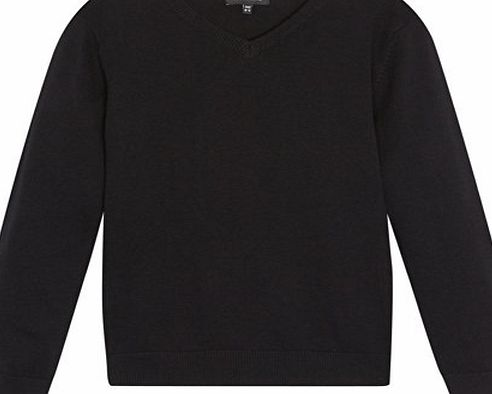 Kids Childrens Black V Neck School Jumper Age 13-14
