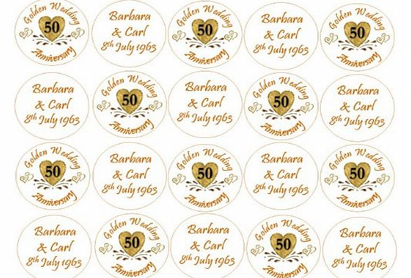Golden Wedding Anniversary Cupake Toppers - Personalised Names and Wedding Anniversary Date - 50th Anniversary Cake Decorations - Edible Icing or Wafer - 4.5cm x 24 (send us your names and date by usi