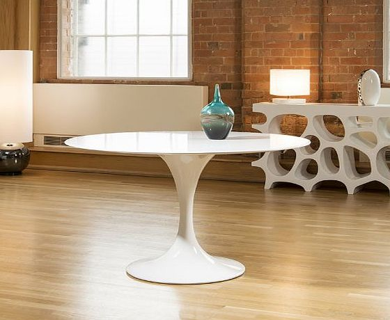 Deco Designer Modern Round Tulip Dining Table White Gloss 1.2mtr Dia New