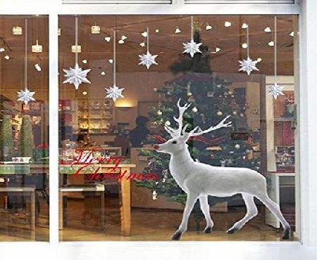 Decorie Lovely White Christmas Deer Wall Sticker for Window Home Decor 60x90cm