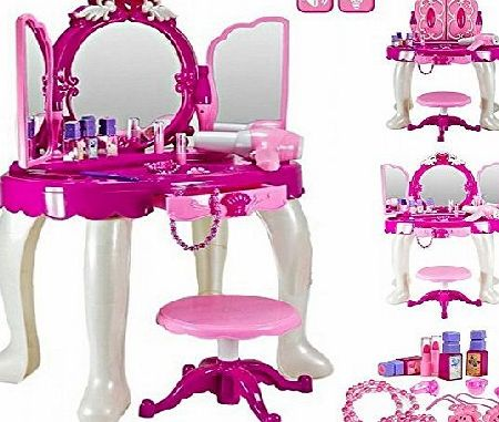 Delex Girls Glamour Mirror Makeup Dressing Table Stool Playset Toy Vanity Light amp; Music Great ~Birthday Christmas XMAS Gift New