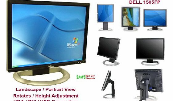 15`` Inches UltraSharp 1505FP Flat Panel LCD Monitor with DVI/VGA/USB Connectors - Height Adjustment & Rotates to Portrait or Landscape View!