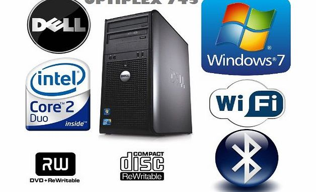 Windows 7 - Dell OptiPlex 745 Powerful Mini-Tower Computer - Intel Core 2 Duo Processor - 500GB Hard Drive - 4GB Memory (RAM) - DVD-RW - WiFi and Bluetooth Enabled - Genuine Windows 7 Disc and COA Inc