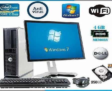 Windows 7 - Dell OptiPlex Computer Tower with Large 19`` LCD TFT Flat Panel Monitor - Powerful Intel Core 2 Duo Processor - Massive 250GB Hard Drive - 4GB RAM - DVD - Wireless Internet Ready - Keyboard