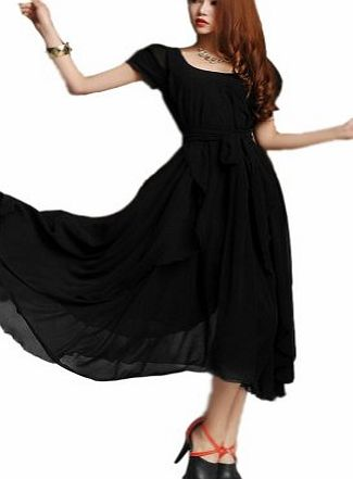 Demarkt New Womens Chic Irregular Bohemian Style Dress Party Ball Gown Chiffon Vogue Boho Evening Dress with Belt Cocktail/Club/Party Costume Casual Wear (L, Black)