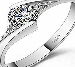 Designer Inspired Halo 1.25 Carat Simulated Diamond Ring Sterling Silver 925 (N)
