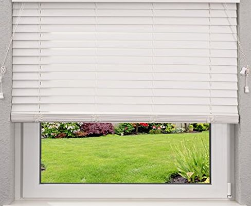 DESWIN Faux Wood Blinds - Blind - W125 x L130 cm - WHITE - with 50mm Slats
