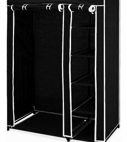 Double Canvas Wardrobe with Clothes Hanging Rail and Storage shelves Black Child Bedroom Storage Furniture