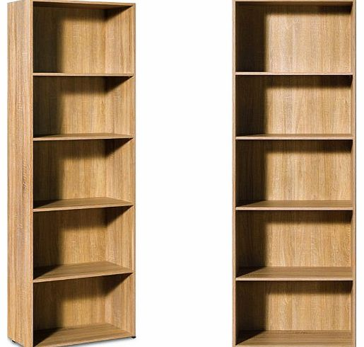 deuba gmbh co kg oak bookcase tall large bookshelf oak. Black Bedroom Furniture Sets. Home Design Ideas