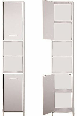 Tall Bathroom cabinet cupboard white large storage shelf shelves storing furniture free standing