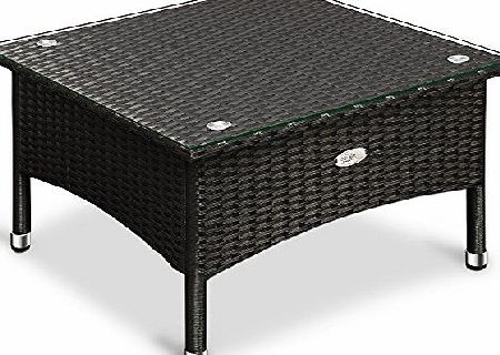 Deuba Polyrattan Garden Furniture Table Outdoor Rattan Side Coffee Tea Table with Glass Plate