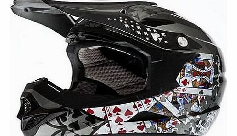 Full Face BMX Cycle Helmet (Spades Black Top, Large)