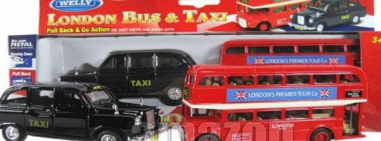 Diecast models London Double Decker Red Bus and Black Taxi Models (Pull Back amp; Go Action)Made of Die Cast Metal and Plastic Parts