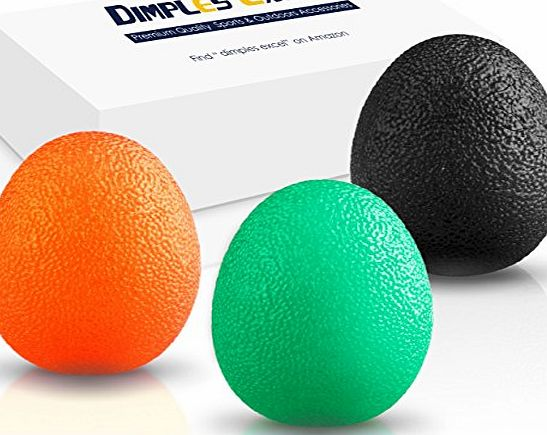 Dimples Excel Squeeze Stress Balls for Hand, Finger and Grip Strengthening-Set of 3 Resistance (Soft Orange   Medium Green   Firm Black)