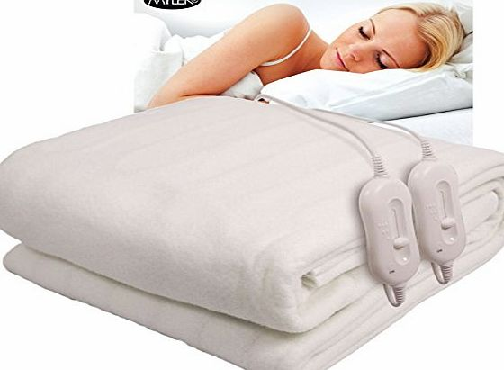 Direct Sales Fully Fitted Double Luxury Polyester Heated Electric Under Blanket With Detachable Dual Controllers, Machine Washable