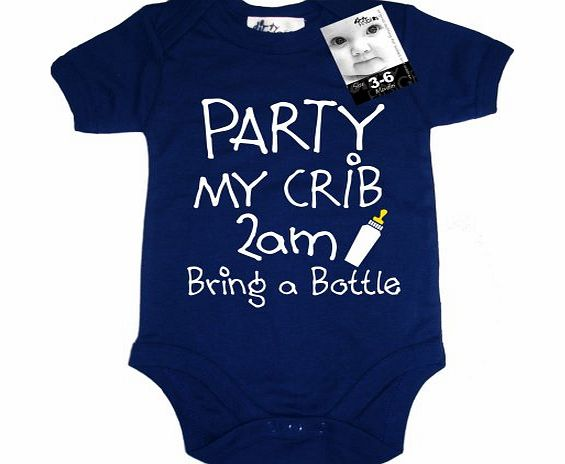 Dirty Fingers PARTY my crib 2am, Bring a Bottle, Baby Unisex Boy Girl Bodysuit, 3-6m, Blue