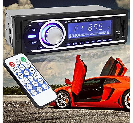 discoball CAR STEREO UNIT DIN MP3 PLAYER FM USB SD CARD AUX FOR IPOD   REMOTE CONTROL