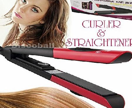 discoball Professional Electric Ceramic Hair Straightener Curler Salon Styling DIY Tool
