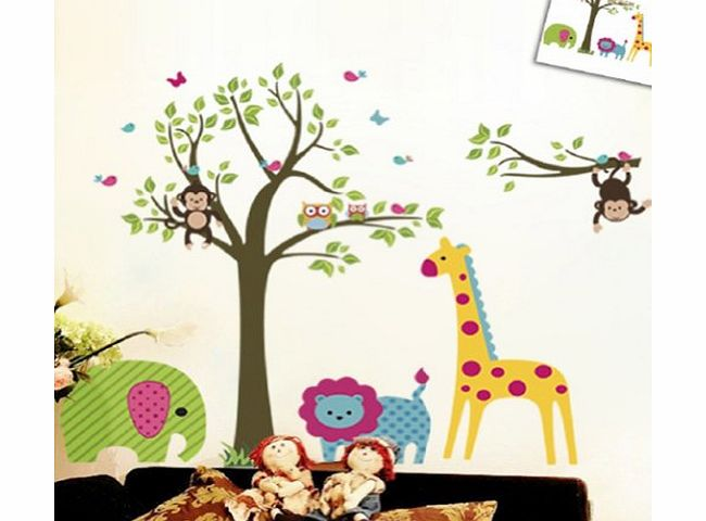 Large Colorful Tree & Jungle Animals Wall Sticker Nursery Bedroom Wall Art Decor Cute Giraffe Monkey Owl Tree Art Wall Stickers Kids Room Removable Decal Baby Bedroom Wall Art