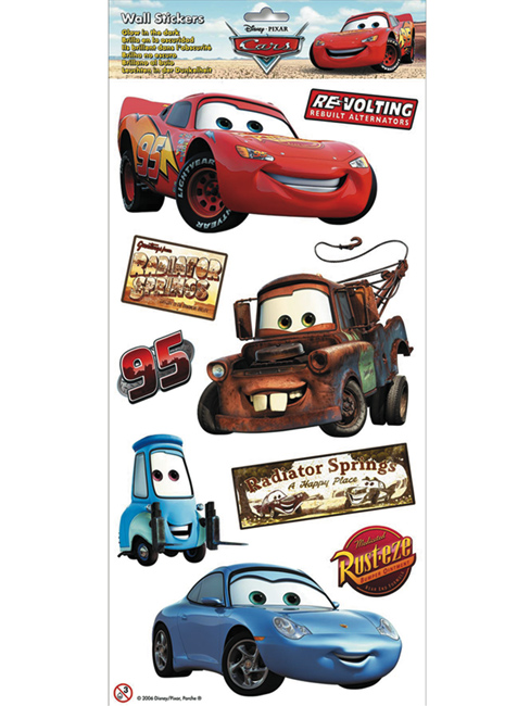 Disney Cars Glow In The Dark Wall Stickers 9 pieces