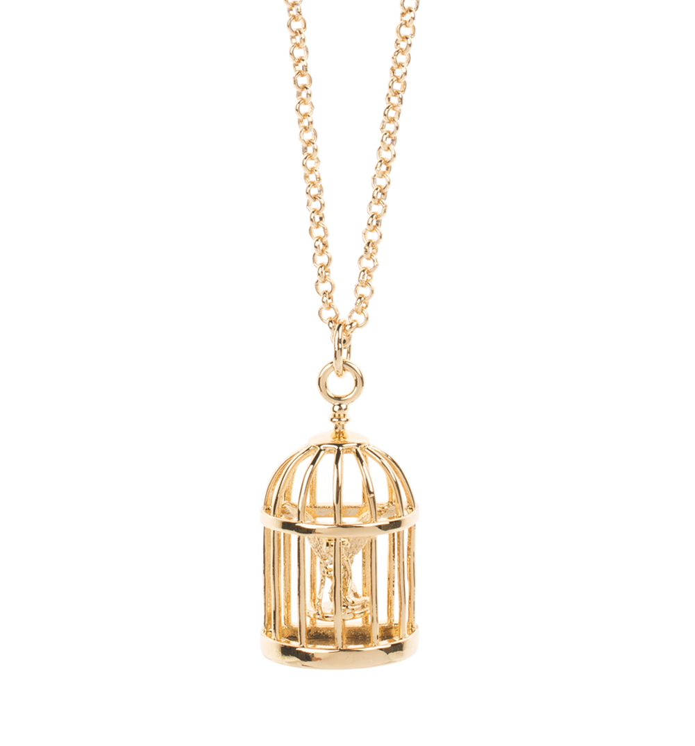 Gold Plated Birdcage Tinker Bell Necklace from