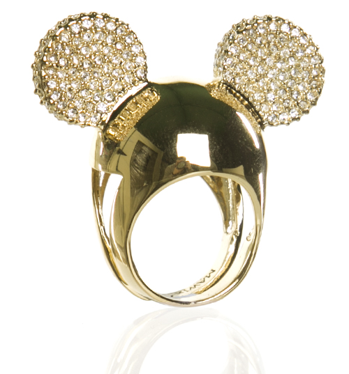 Gold Plated Pave Ears Minnie Mawi Ring from