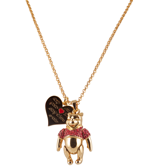 Disney Couture Gold Plated Winnie The Pooh Movable Ruby Pendant