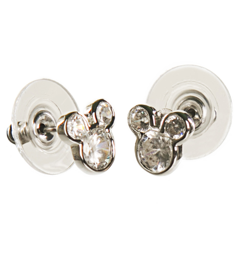 Silver Plated Diamante Mickey Mouse Stud